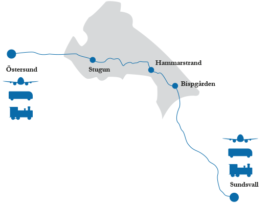 Map of Ragunda with distances to Östersund and Sundsvall